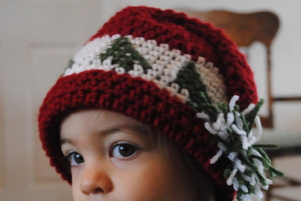 Free Christmas Crochet Hat Pattern Trees Go Round- baby, toddler, child sizes
