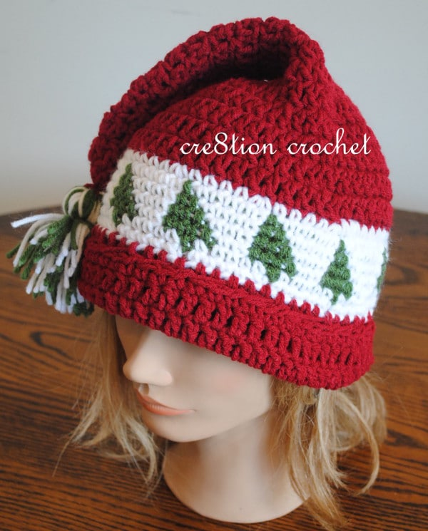 Free Christmas Crochet Patterns- Tree's go Round Adult and Child sizes