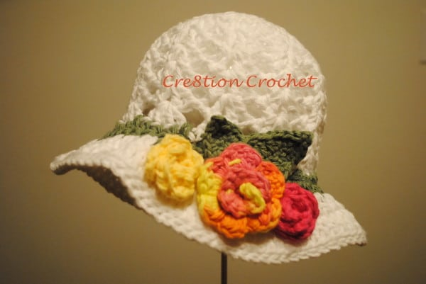 Free Crochet Pattern For Easter Bonnet : Free Pattern Easter Crochet Hat in White with Spring ...