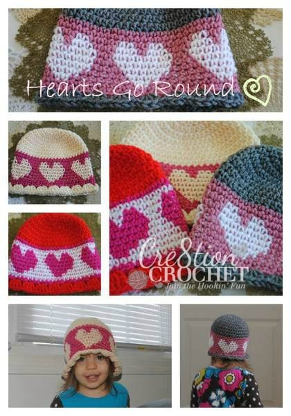 Valentine's Day Crochet Hat Pattern- Hearts go Round