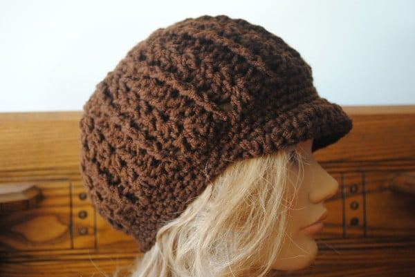 Free Crochet Pattern Beanie With Brim : Free Crochet Newsboy Hat Pattern with Optional Brim- Mary ...