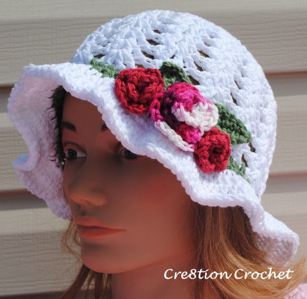 Adult Spring or Easter Hat Shell Stitch Cotton Hat with Spring Blossoms