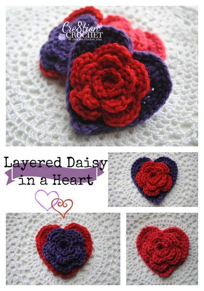 Free Valentines Day Heart Pattern Layered Daisy In A Heart