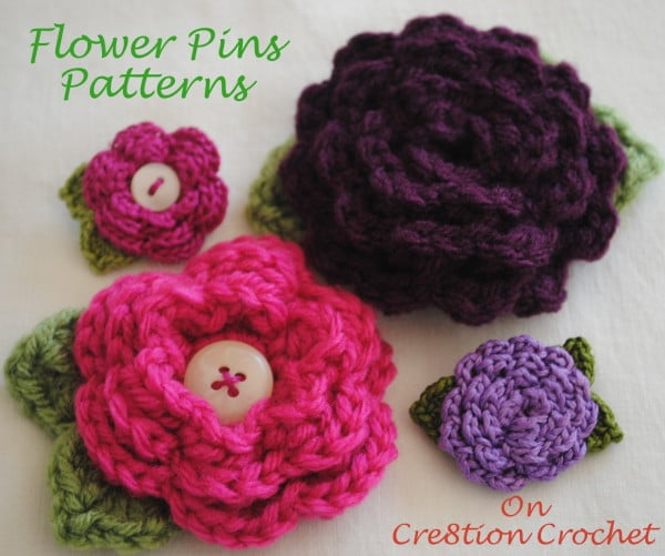 Crochet Rose Hair Clip Pattern : Also featured is the Daisy Delight Flower Pin Pattern