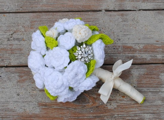 Crochet Bridal Flowers- Bridal Bouquet and Boutonniere