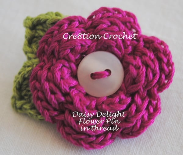 Flower Pin Free Crochet Pattern