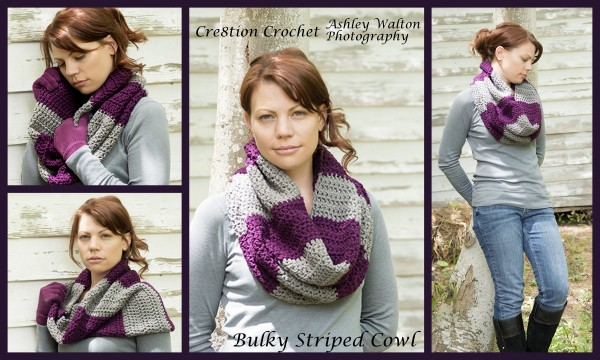 striped bulky cowl free crochet pattern