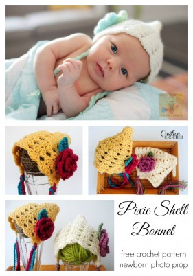 Pixie Shell Bonnet Newborn- 3months
