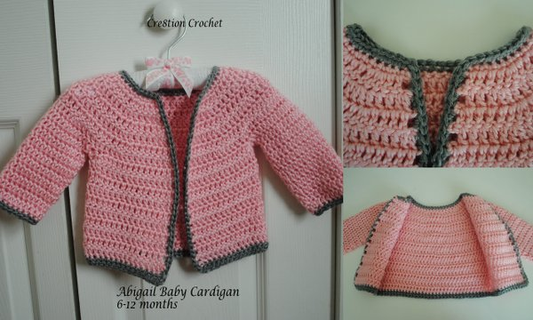 Free Baby Sweater Patterns To Crochet : free crochet pattern Abigail Baby Cardigan 6-12 months ...