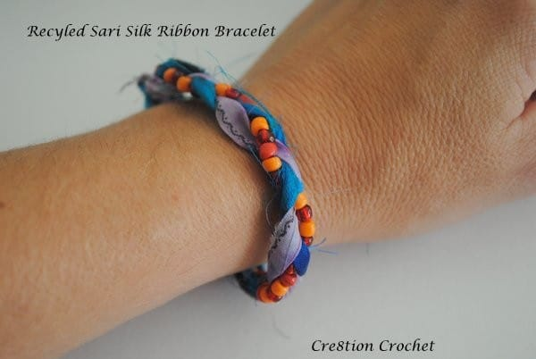 Recycled Silk Sari Ribbon Bracelet or Anklet – Cre8tion Crochet