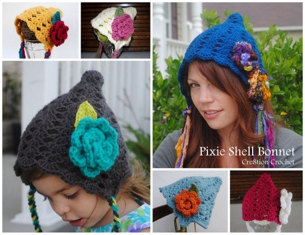 Pixie Shell Bonnet in 6 sizes.  FREE for THIS WEEKEND ONLY!  Will soon be available only on Ravelry!!!!