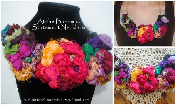 At the Bahamas Statement Necklace.  Free pattern by Cre8tion Crochet for Darn Good Yarn