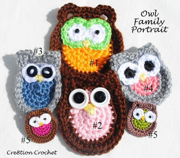 Owl Family Portrait Five Free Applique Patterns Cre8tion Crochet