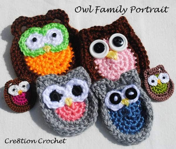 Owl Family Portrait 5 Appliques Free Crochet Patterns