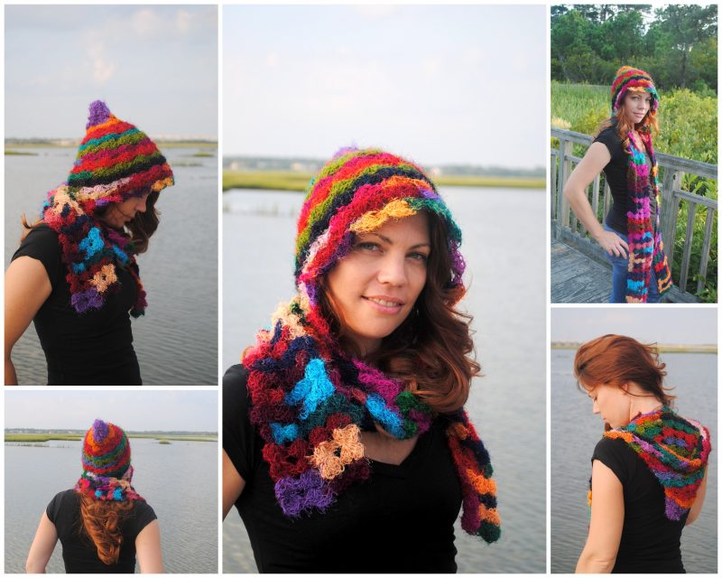 Rainbow Rapture Pixie Hooded Scarf