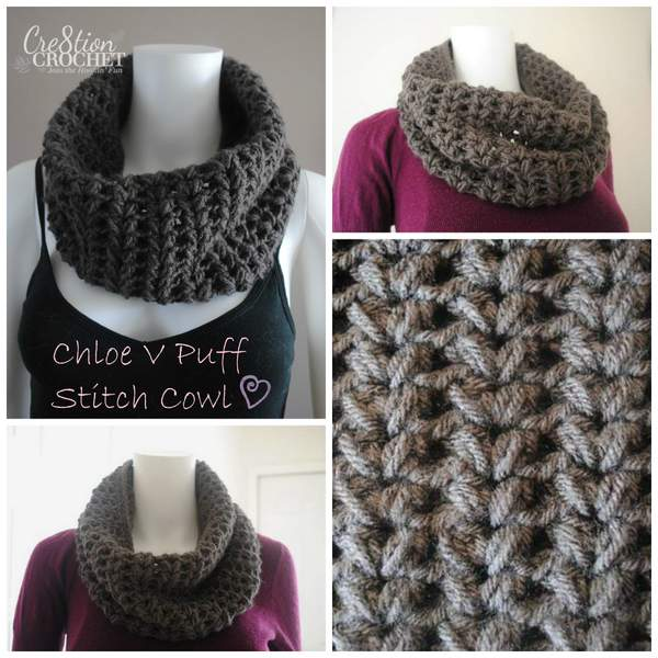 01d25da13e3 Chloe V Puff Stitch Cowl Free Pattern brought to you by Cre8tion Crochet