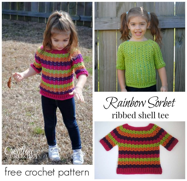 Free Crochet Pattern Toddler Ribbed Shell Top