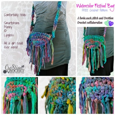 Watercolor Festival Bag free crochet pattern... hold all a girl could ever need  FREE pattern by lovin.each.stitch exclusively on Cre8tion Crochet