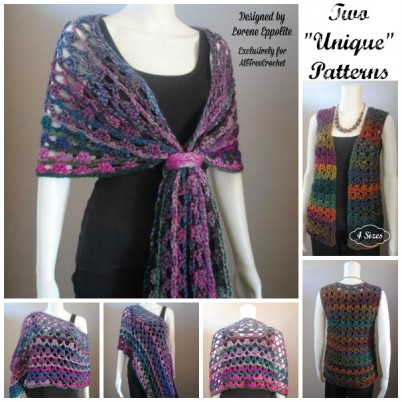 "Two ""Unique"" Patterns- FREE Crochet Patterns for Multi Wear Lace Wrap and Shell Vest in four sizes!"