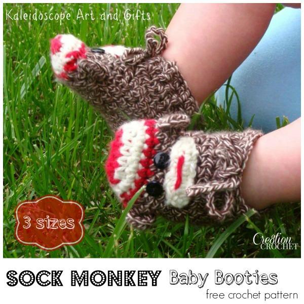 Sock Monkey Baby Booties