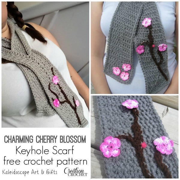 Charming Cherry Blossom Keyhole Scarf Cre8tion Crochet