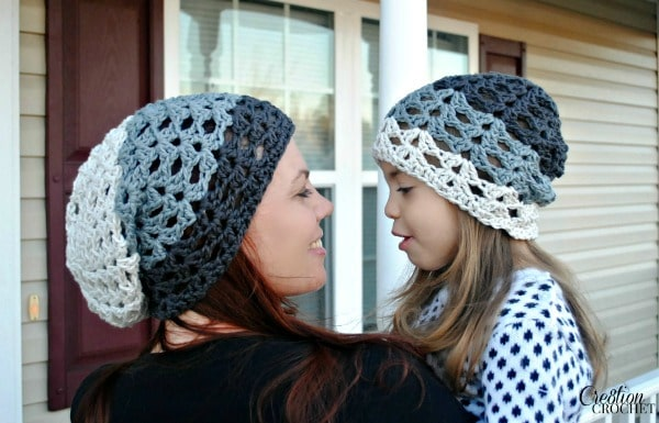 Grayscale Ombre Slouch - Free Crochet Slouch Hat Pattern - Cre8tion ...