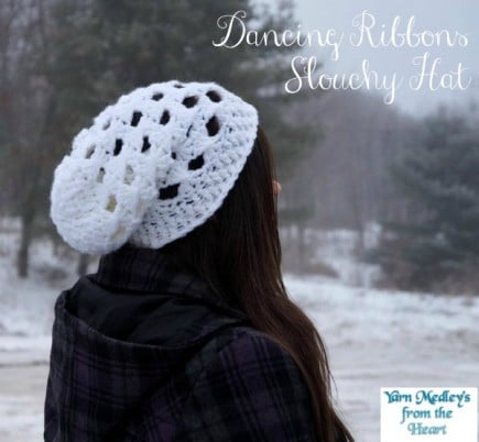 Dancing Ribbons Slouchy Hat free pattern designed by Yarn Medleys from the Heart exclusively for Cre8tion Crochet