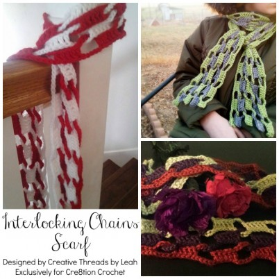 Interlocking Chains Scarf designed by Creative Threads by Leah, exclusively for Cre8tion Crochet