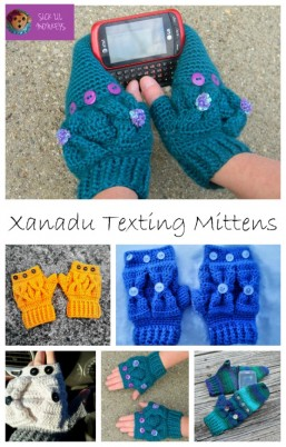 Xanadu Texting Mittens free crochet mitten pattern by Sick 'Lil Monkeys exclusively for Cre8tion Crochet