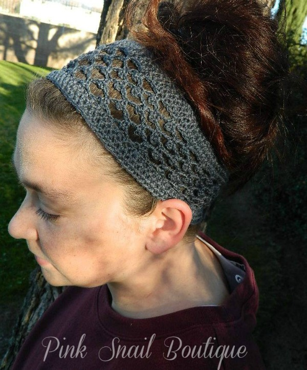 Peekaboo Picot Headband free pattern by Pink Snail Boutique exclusively for Cre8tion Crochet