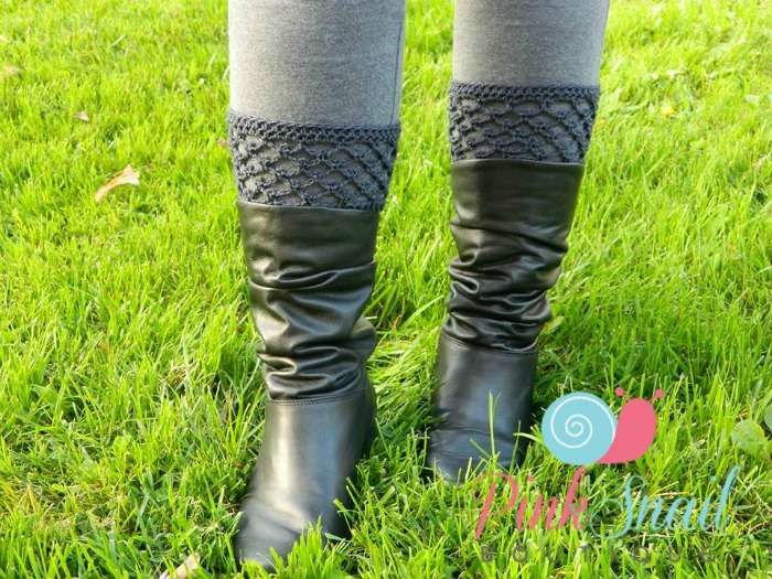 Peekaboo Boot Cuffs free crochet pattern by Pink Snail Boutique exclusively for Cre8tion Crochet
