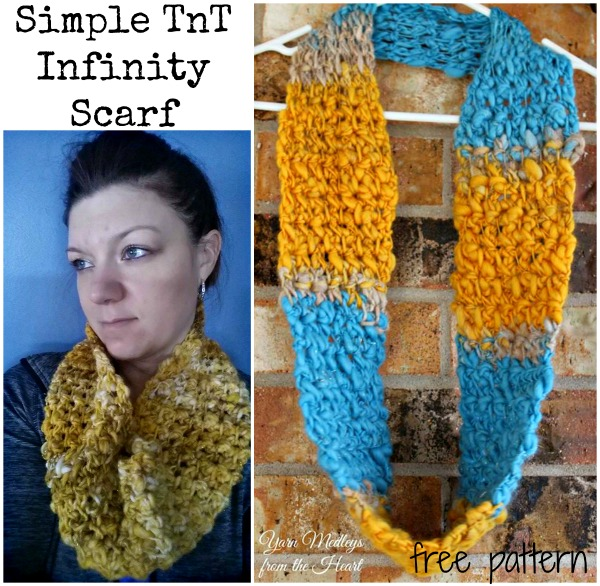 free simple thick and thin infinity scarf pattern by Yarn Medleys From the Heart