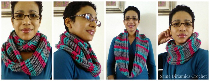 Cables and Stripes free crochet cowl pattern designed by Same DiNamics Crochet exclusively for Cre8tion Crochet