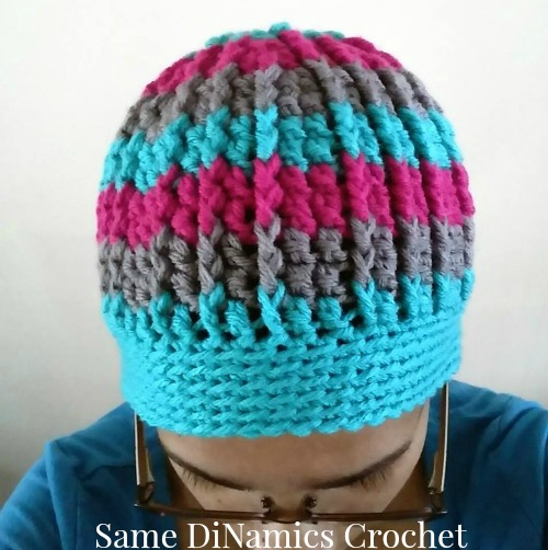 Cables and Stripes free crochet hat pattern designed by Same DiNamics Crochet exclusively for Cre8tion Crochet