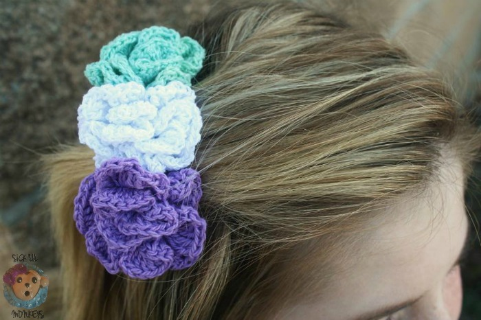 Pixie Blossoms Hair Comb free hair accessory pattern by Sick Lil' Monkeys exclusively for Cre8tion Crochet
