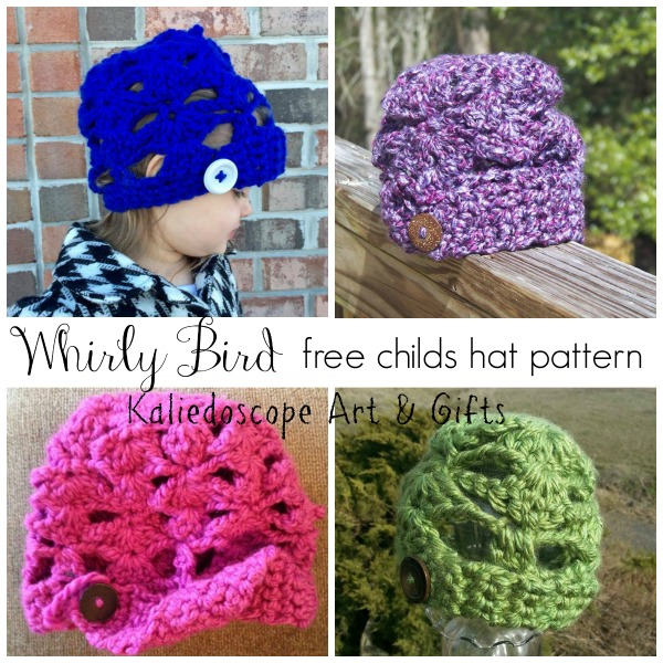 Whirly Bird free childs hat pattern designed by Kaleidoscope Art & Gifts
