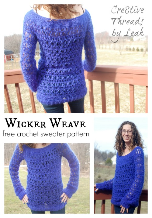 Wicker Weave free crochet sweater pattern designed by Creative Threads by Leah exclusively for Cre8tion Crochet