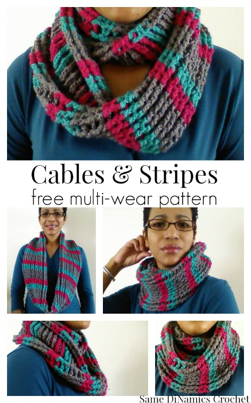 Cables and Stripes free crochet cowl pattern
