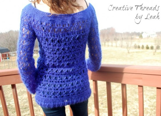 free crochet sweater pattern by Creative Threads by Leah exclusively on Cre8tion Crochet