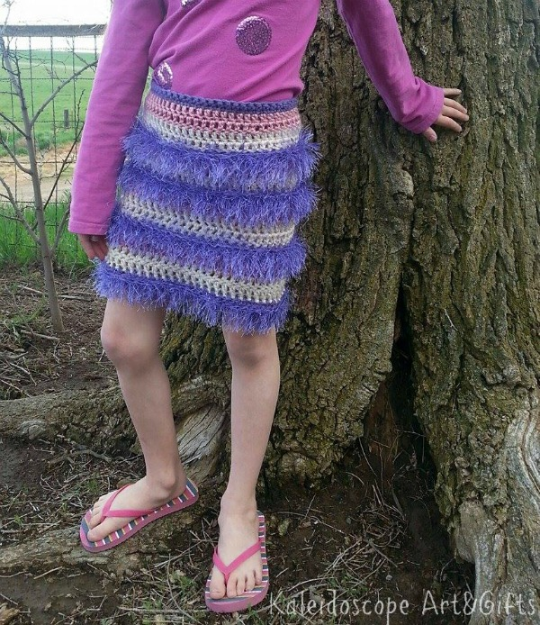 Firecracker Flapper Skirt free crochet pattern in three sizes, designed by Kaleidoscope Art&Gifts, exclusively on Cre8tion Crochet.