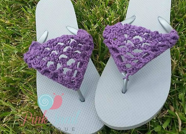 b8bb48fa2 Peekaboo Flip Flops free crochet pattern by Pink Snail Boutique available  only on Cre8tion Crochet