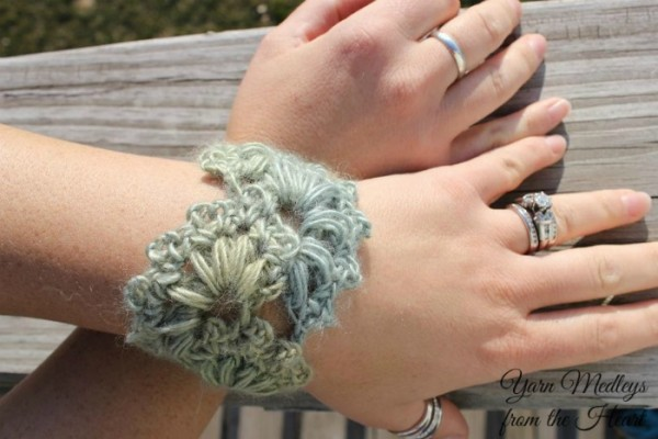 Spring Fan Wrist Cuff free crochet pattern designed by Yarn Medleys from the Heart, exclusively on Cre8tion Crochet.