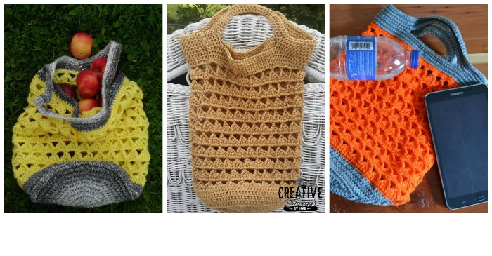 Free crochet market bag pattern designed by Creative Threads by Leah