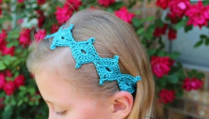 Spring Diamond free crochet tie back pattern