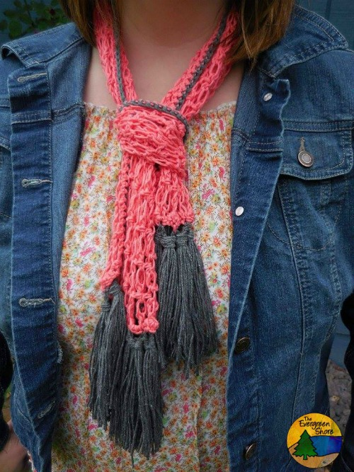 Summer Lovin'- a free summer crochet scarf pattern. You can also wear this fun scarf as a head wrap.