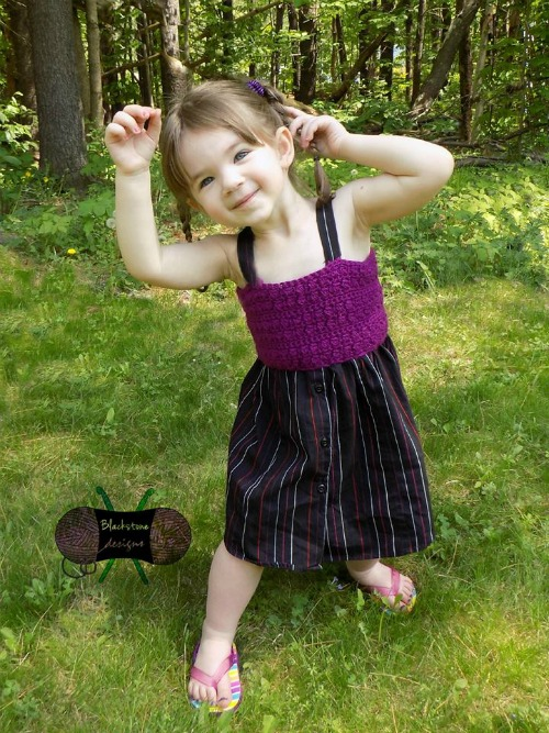 Button Down Dress - Free toddler crochet dress pattern. Upcycled from a mans button down shirt.