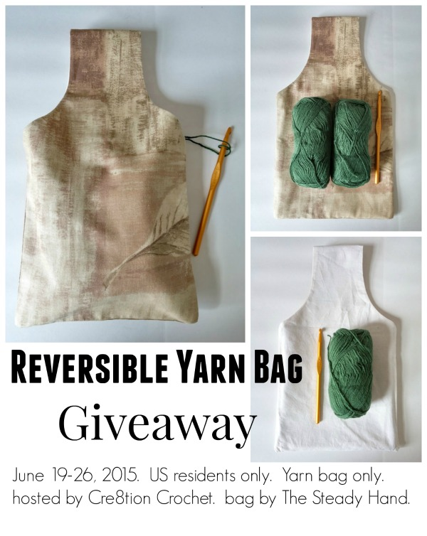 Do you take your crochet on the go?  This bag is perfect.  Free giveaway for this yarn bag, designed by The Steady Hand being hosted by Cre8tion Crochet.  Valid US only.  June 19 thru 26, 2015.
