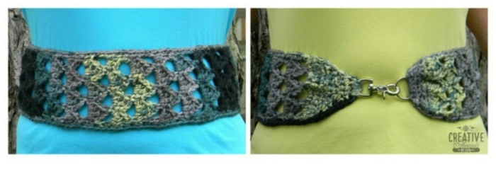 Triangle Stitch Belt, a free pattern, can be worn two ways.