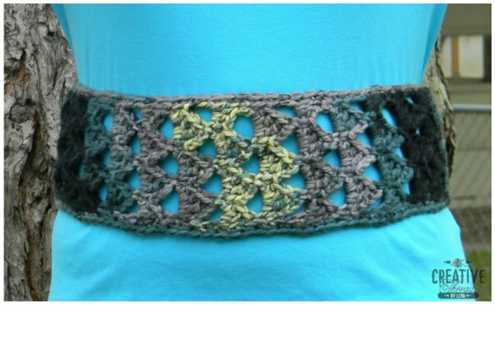 Triangle Stitch Belt, free pattern by Creative Threads by Leah, exclusively for Cre8tion Crochet.