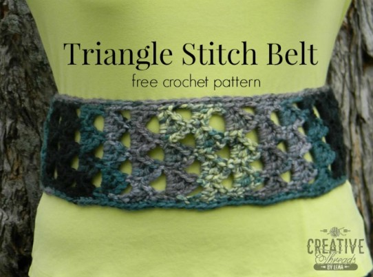 Triangle Stitch Belt, free pattern designed by Creative Threads by Leah, exclusively for Cre8tion Crochet.